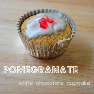 White Chocolate Pomegranate Cupcakes