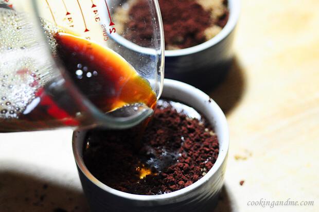 Eggless Chocolate Coffee Self Saucing Pudding Recipe