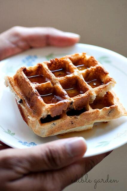 crispy waffles with cacao nibs
