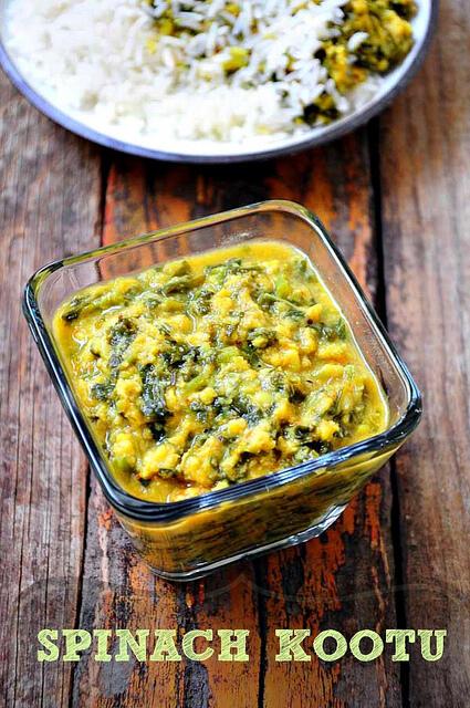 spinach kootu-keerai kootu-south indian kootu recipe