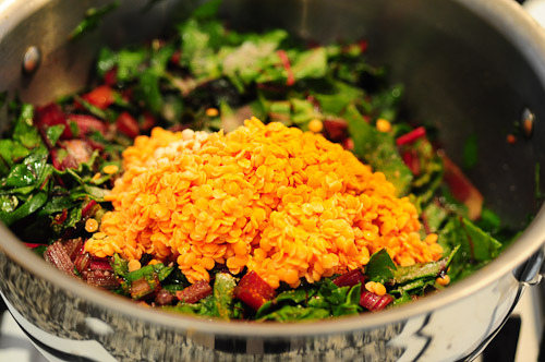 beetroot leaves dal-masoor dal recipe with beet leaves-11