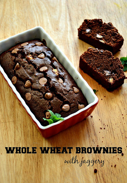 whole wheat brownie-atta jaggery brownie recipe