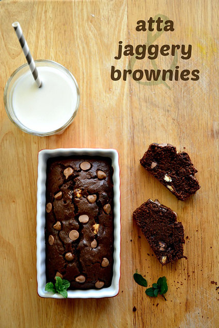 atta jaggery brownies-whole wheat brownies recipe