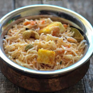 tomato paneer pulao recipe, how to make tomato paneer pulao