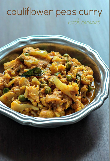 cauliflower green peas coconut curry recipe