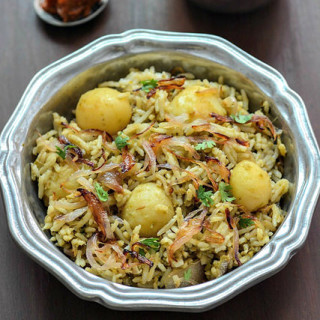 Baby Potato Biryani Recipe, Easy Baby Potato Biryani Step by Step