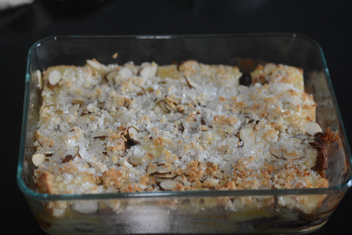 eggless bread pudding with banana chocolate chips