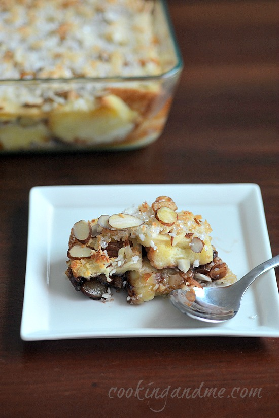 eggless bread pudding recipe with banana chocolate chips