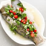 thai steamed fish with chilli lime and garlic