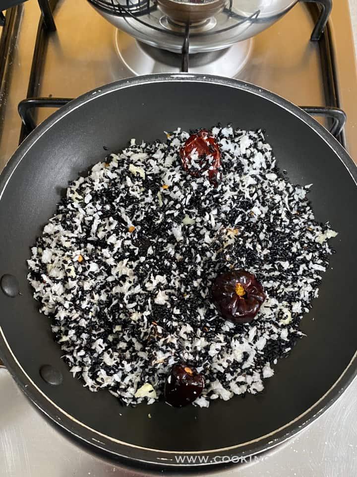 mixed ingredients for ellu chutney before grinding