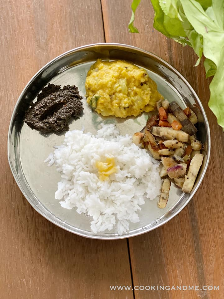 ellu chutney with rice, kootu, curry